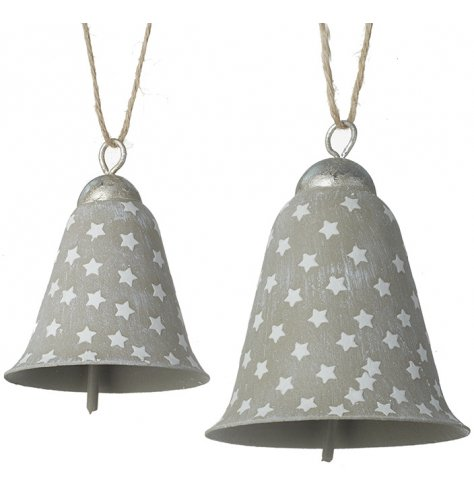 A set of 2 cement effect metal stars decorated with an attractive white star pattern.