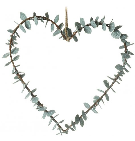A stylish and contemporary heart shaped wreath with dainty eucalyptus leaves. Complete with jute string hanger.