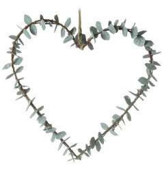 A beautifully simple heart shaped wreath entwined with an artificial eucalyptus leaf decal