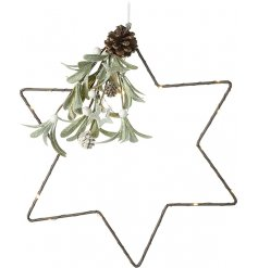 A simplistic metal star entwined with a warm glowing string of LEDs and complete with a frosted Mistletoe Bunch