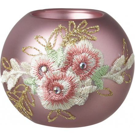 Pink Glass Tlight Holder With Embroidery, 8cm