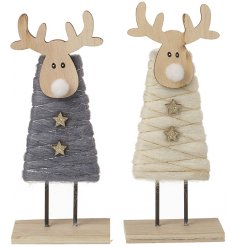 A charming assortment of standing wooden reindeers wrapped in grey and cream wool