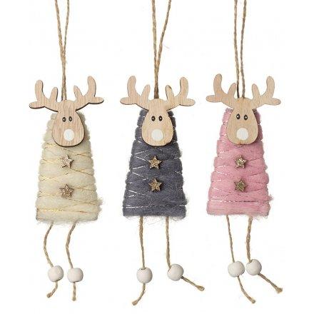 Hanging Woollen Reindeers, 16cm