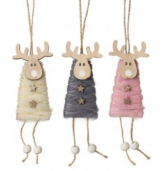 A charming assortment of hanging wooden reindeers wrapped in grey, pink and cream wool