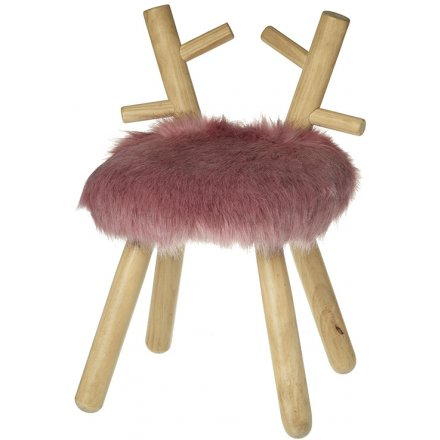 Faux Fur Stool With Antlers, 51cm