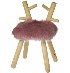 Perfect for adding to any Christmas Set up needing a blush touch, a faux fluffy fur stool with added wooden legs and an