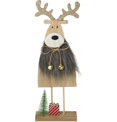 A rustic wooden reindeer decoration complete with a grey faux fur coat, glitter antlers and gold jingle bells.