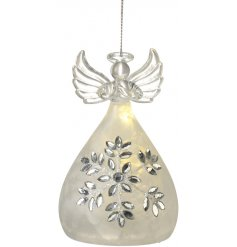 A beautifully delicate hanging glass angel ornament with an added LED centre and pretty jewelled pattern skirt