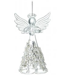 A delicate hanging glass angel ornament with a bejewelled glittery skirt