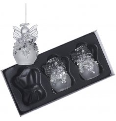 A charming set of 3 frosted glass angel hanging decorations each with its own glittery accents