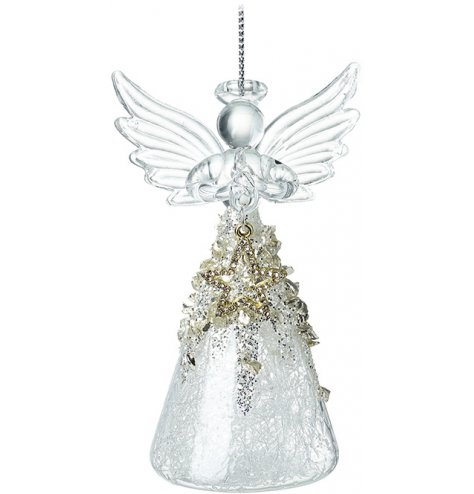 A stunning glass angel decorations with a gold and diamante star charm. Complete with an ornate skirt and open wings.