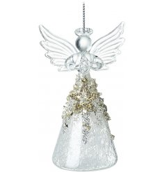 A hanging glass angel ornament complete with a spun glass skirt, added gold sequins and a glittery star to finish