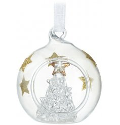 A cute little clear glass bauble with added glitter star decals and a glass tree centre