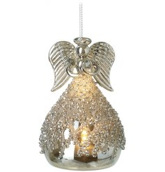 A gorgeous hanging glass angel ornament filled with a warm glowing LED and coated with a glitz bead design