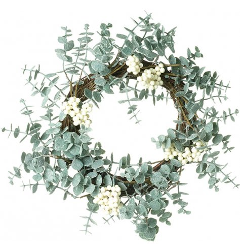 A charming eucalyptus wreath complete with white berries.