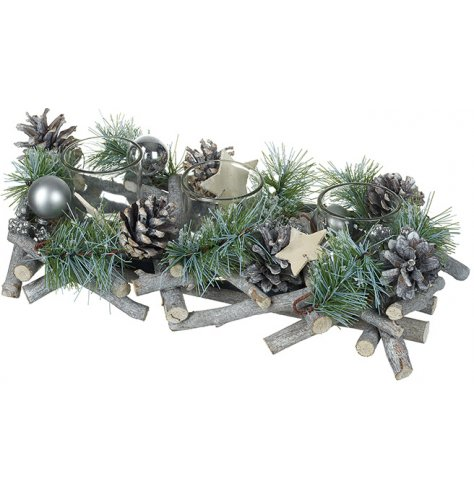A stunning rustic centrepiece featuring three glass t-light holders surrounded by silver bark, foliage and pinecones