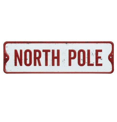 A vintage inspired metal sign with an embossed North Pole slogan. In traditional red and white colours