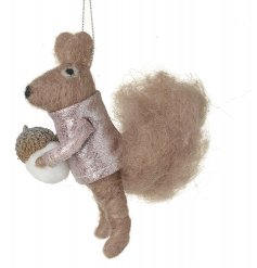 A fuzzy felt hanging squirrel with a sparkly pink jumper and acorn decal