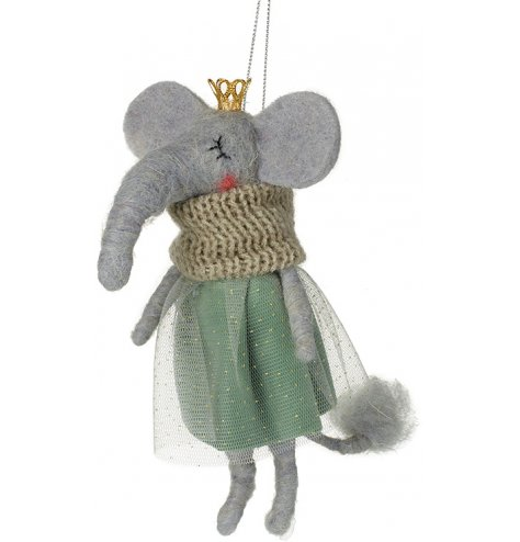 A romantic and utterly charming hanging elephant decoration complete with a knitted snood, pretty dress and gold crown.