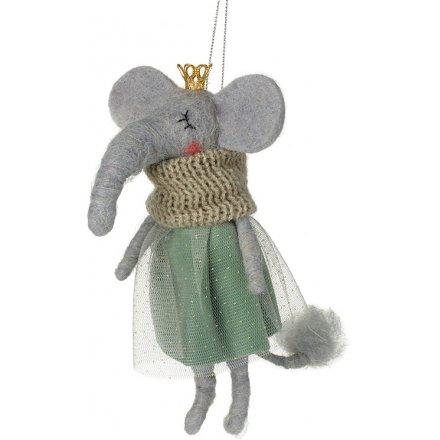 Fuzzy Felt Elephant in Dress, 15cm
