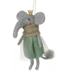 A grey toned felt elephant hanging decoration dressed in a pretty green outfit and topped with a gold crown