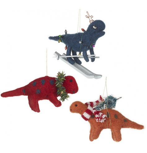 Have fun this season with these unique dinosaur species hanging decorations.
