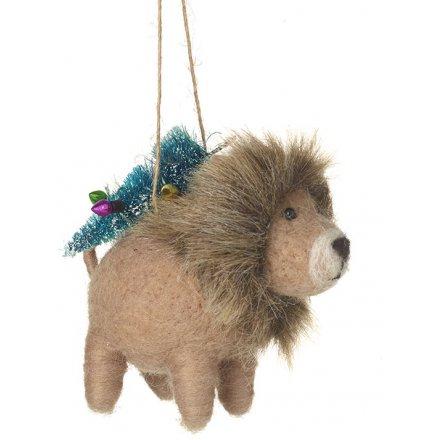 Woollen Christmas Lion Hanger, 8cm