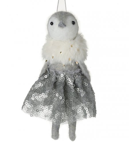 An adorable and enchanting felt penguin decoration dressed in a winter wonderland party outfit.
