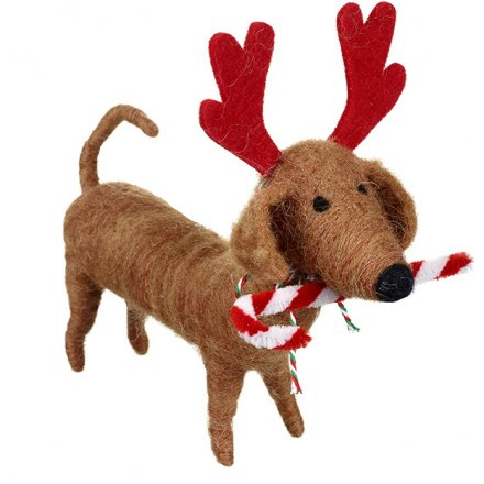 Felt Dog With Antlers, 15cm