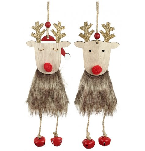 An assortment of 2 charming reindeer hanging decorations with faux fur, pom pom noses and glitter antlers.