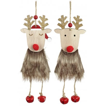 Assorted Hanging Reindeer With Faux Fur, 16cm