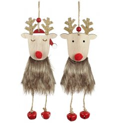 A fun and festive themed assortment of hanging wooden reindeer with dangly legs and faux fur coats