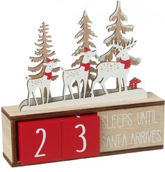 A natural wooden calendar with Nordic Red toned perpetual counting blocks and a reindeer display