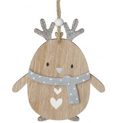 A sweet little hanging wooden penguin decoration complete with glittery antlers and extras