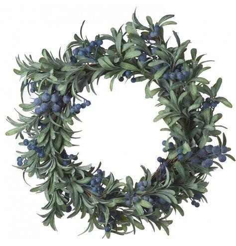 An attractive, fine quality artificial wreath with blueberry berries.