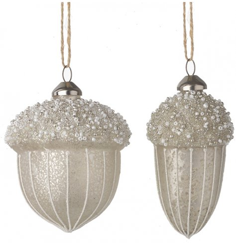 An assortment of shaped glass acorn hanging baubles set with a champagne gold tone and beaded decal to the tops