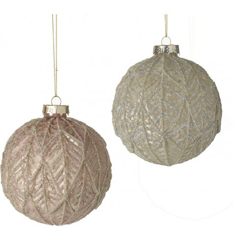 An assortment of leaf ridged glass baubles, both decorated with a glitzy coating and soft blush pink and champagne gold