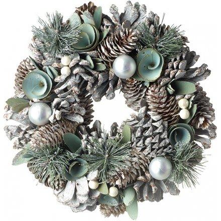 Sage and Silver Woodland Wreath, 25cm