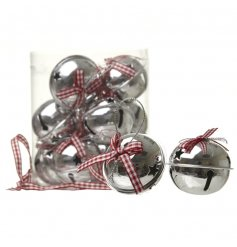 A pack of silver jingling bells with red checkered bow hangers,
