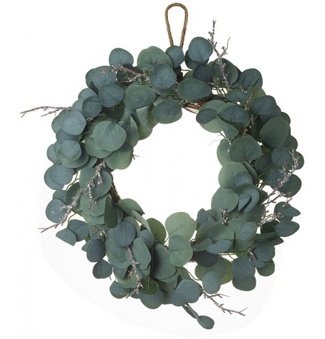 A bushy leaf wreath complete with glittered twig branches