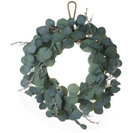 Twig & Leaf Glitter Wreath, 55cm