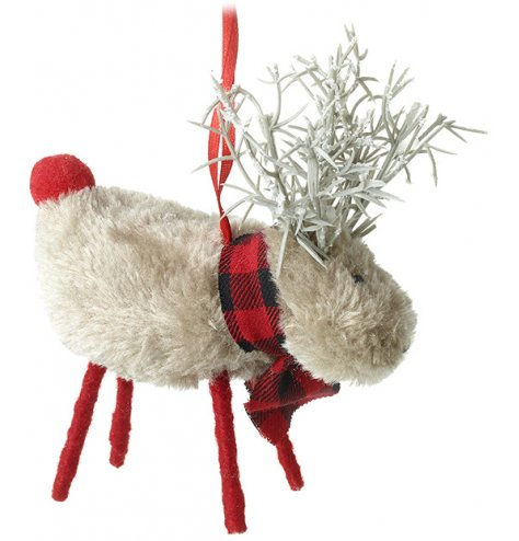 A cute hanging reindeer with a red scarf and branch antler decal