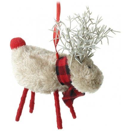 Hanging Checkered Scarf Reindeer, 12cm