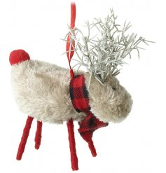A small hanging faux fur reindeer with added twig antlers and a checkered scarf
