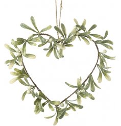 A beautiful and simple hanging wire heart entwined with glitter dusted mistletoe and berries