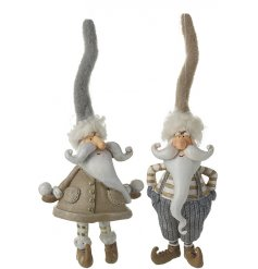 A fun little assortment of grey and beige toned resin santa decorations with high pointed hats