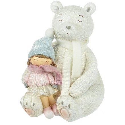 Sitting Polar Bear & Girl, 13cm