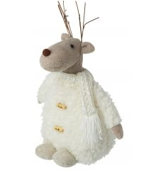 A cute and fuzzy woollen bodied reindeer decoration with a knitted scarf and twig antlers