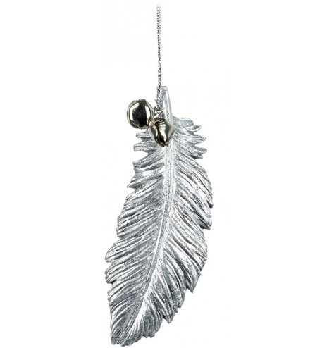 A silver toned polyresin feather hanging decoration with a glittery coating and silver jingle bell decal