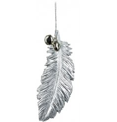 A hanging silver toned resin feather sprinkled with glitter and complete with jingling bells